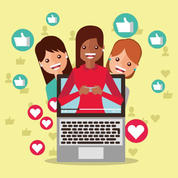 woman blogger on screen viral content people followers like love
