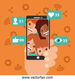 hand with smartphone viral content people views followers