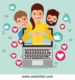 smiling woman blogger on screen viral content people followers like love