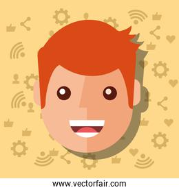 man face character with social media networks icons background