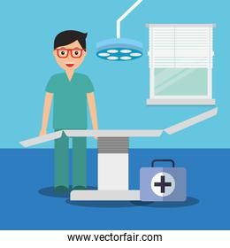 doctor with suitcase medical stretcher in consulting room