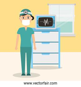 doctor in consulting room with monitoring machine