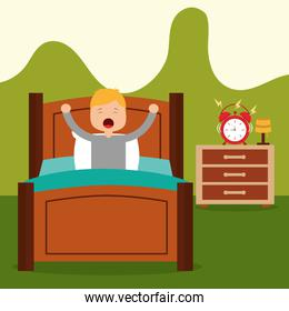 Vector illustration of Little boy waking up in a bed on white background