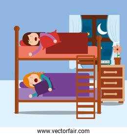 young girls asleep in bunk bed in night bedroom