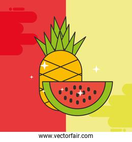 pineapple and watermelon fresh delicious