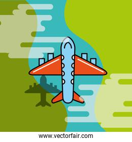 flying airplane transport commercial cartoon