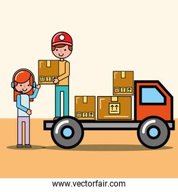 courier boy in truck and operator girl packages logistic and delivery
