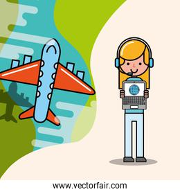 operator girl and flying plane logistic and delivery