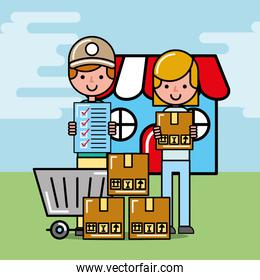 courier man and customer girl with package logistic and delivery
