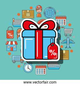 gift box and tag price logistic and delivery