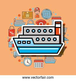container ship cargo logistic and delivery