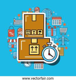 cardboard boxes stopwatch logistic and delivery