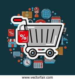 shopping cart tag price logistic and delivery