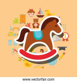 wooden rocking horse toys background