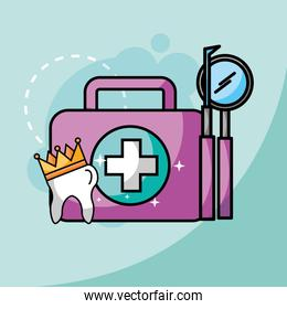 tooth in crown kit and tools dental care