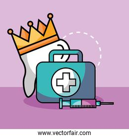 tooth crown syringe and kit first aid
