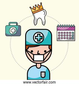 dentist boy with uniform and mask character