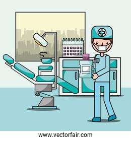 dentist boy in office chair and equipment professional