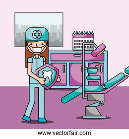 dentist girl with tooth in office room chair and equipment