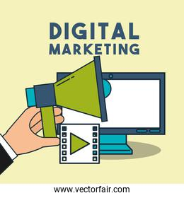 digital marketing hand holding megaphone computer video
