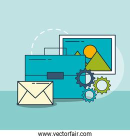 business briefcase email photo digital marketing
