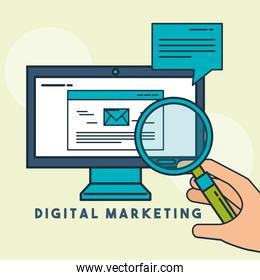 hand holding magnifying glass computer email digital marketing
