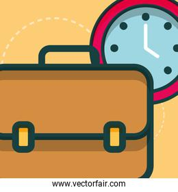 business briefcase clock time business office