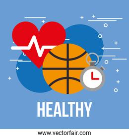 sport basketball ball stopwatch and heartbeat healthy