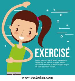 cute girl training healthy exercise