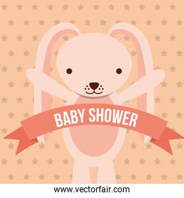 baby shower pink bunny ribbon dots background card