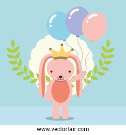 cute pink rabbit with crown holding balloons decoration