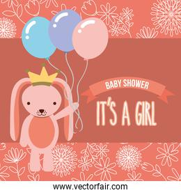 pink rabbit with balloons baby shower its a girl
