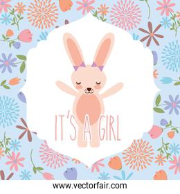 pink rabbit wit bow baby shower its a girl