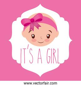 cute face girl baby shower label