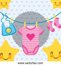 pink and blue clothes for baby stars cartoon
