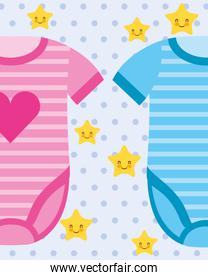 pink and blue bodysuit baby clothes