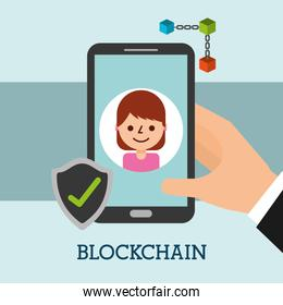 hand with smartphone woman check mark blockchain