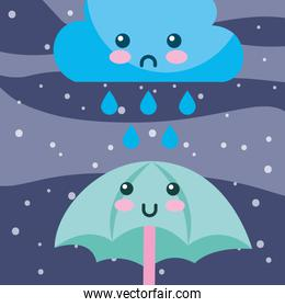 weather rain drops cloud and umbrella cartoon