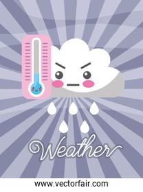 kawaii cloud rain drops cold thermometer weather