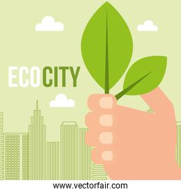 hand holding leaves ecology city concept