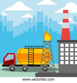 oil industry tanker truck and burning refinery tower