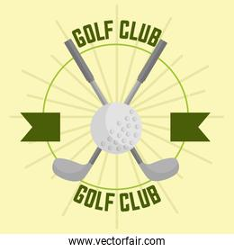 crossed golf club and ball sport banner
