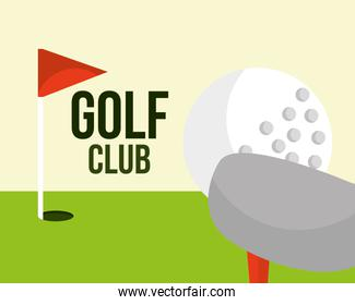 golf club ball and red flag field sport