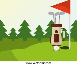 golf bag ball red flag trees in the field