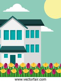 house with two story and tulips flowers garden