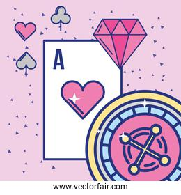 casino and gambling roulette ace card and diamond image design
