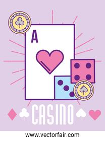 casino heart ace card dices and chip cartoon