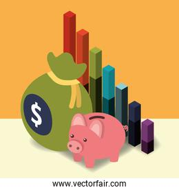 business piggy bank diagram chart and bag money isometric