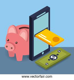 smartphone credit card banknote and piggy bank money isometric