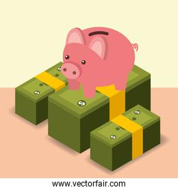 business piggy bank stacked banknote money isometric